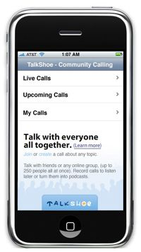 Talkshoe iphone podcasting application